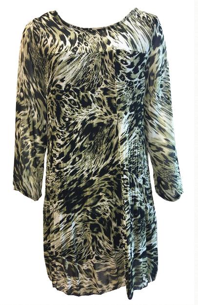 Sensi Wear jurk plissé tijger groen