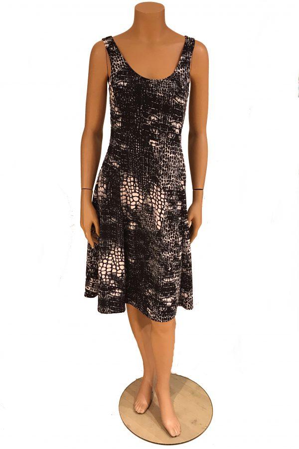 Stella Moretti jurk mouwloos Zwart Wit Fantasie