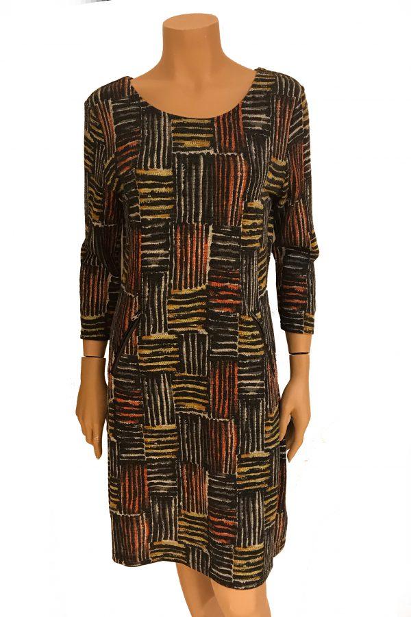 Vegas For Her jurk Geblokt Oranje