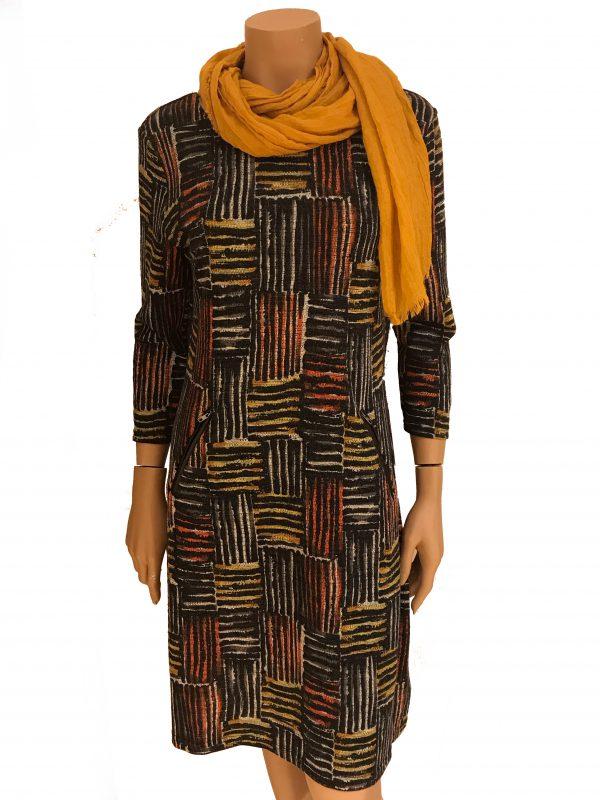 Vegas For Her jurk Geblokt Oranje met Gele Sjaal