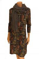 Vegas For Her jurk Geblokt Oranje met Grijze Sjaal