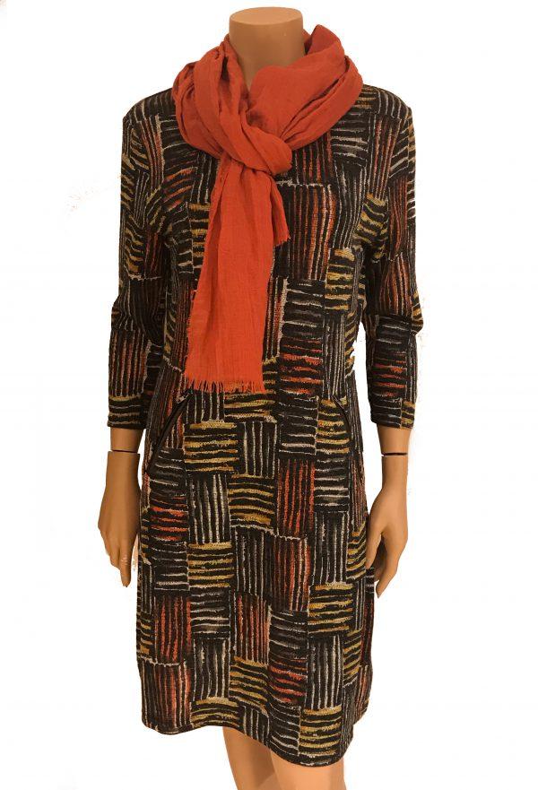 Vegas For Her jurk Geblokt Oranje met Oranje Sjaal