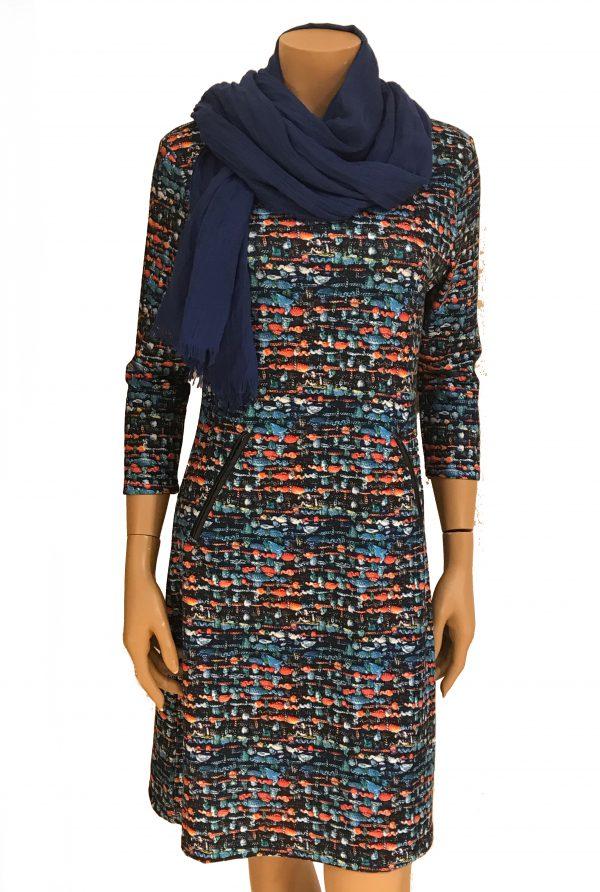 Vegas For Her jurk Geweven Kobalt met Kobalt sjaal