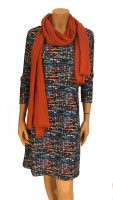 Vegas For Her jurk Geweven Kobalt met Oranje Sjaal