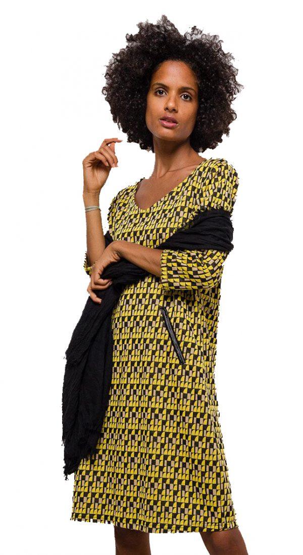 Vegas For Her jurk Gele Blokjes