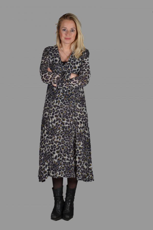 Lalive Verte Lange jurk luipaard zwart/wit