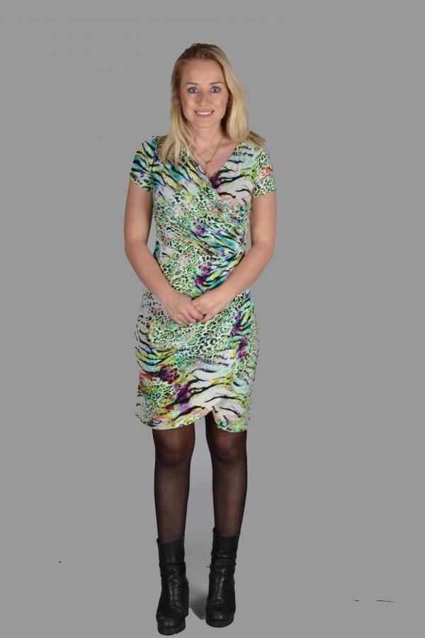 NED groen luipaard jurk