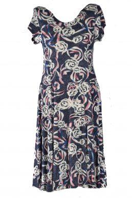 Stella Moretti jurk bloem stip grey