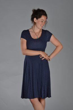 Stella Moretti jurk blauw witte stip