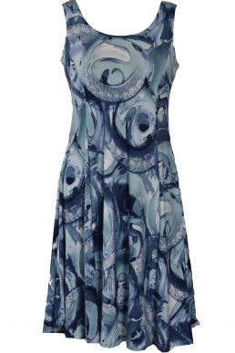 Stella Moretti jurk mouwloos blauw cirkel