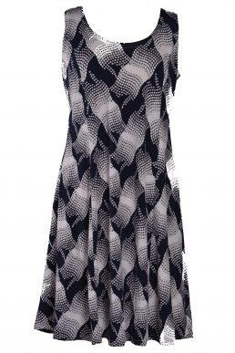 Stella Moretti jurk mouwloos zwart wit veeg