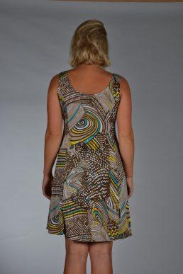 Stella Moretti jurk bruin geel streep