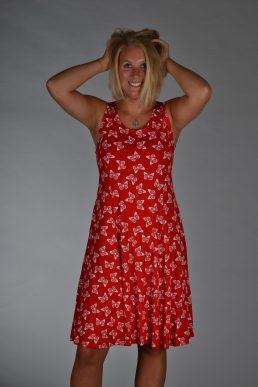 Stella Moretti jurk rood wit vlinders