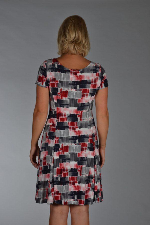 Stella Moretti jurk Grijs/Zwart/Donkerrood geblokt