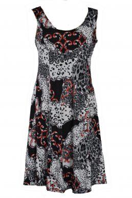 Stella Moretti jurk mouwloos grey panter