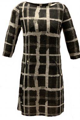 Vegas jurk grijs en zwart raster